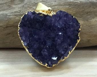Amethyst Heart Pendant, Druzy Heart Pendant, Heart Pendant, Druzy, Drusy, Gold Plated Pendant, Purple, Amethyst, PG1706