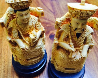 Asian Carved Statues, Chinese Emperor and Empress Statues,