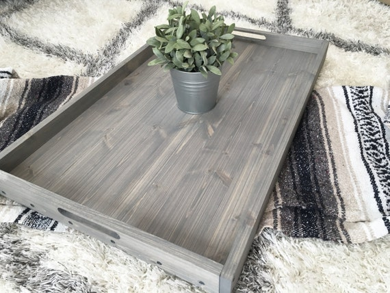 Rustic wooden ottoman tray coffee table serving
