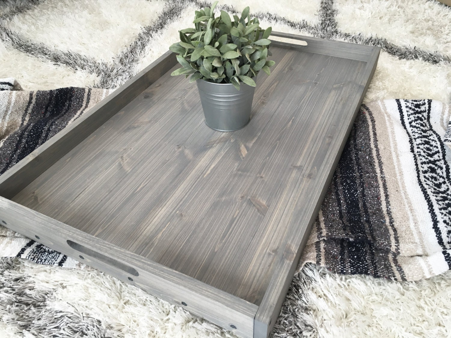 Rustic wooden ottoman tray coffee table tray serving tray rustic wooden ottoman tray coffee table tray serving tray wooden tray rustic home decor farmhouse decor rustic tray wood tray geotapseo Choice Image