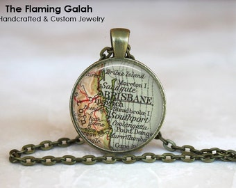 BRISBANE Map Pendant • Brisbane Australia • Vintage Brisbane • Map of Brisbane • Gift Under 20 • Made in Australia (P1178)