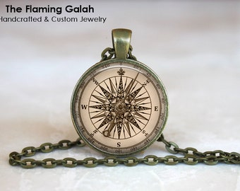 COMPASS ROSE Pendant •  Vintage Compass • Gift for a Sailor • Vintage Sailing • Nautical • Gift Under 20 • Made in Australia (P1133)