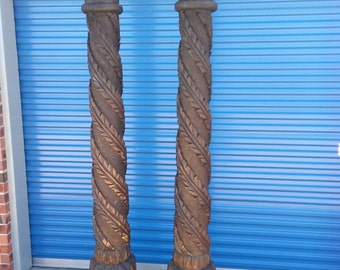 Pair of vintage architectural salvaged carved solid wood pillars ornate columns
