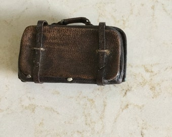 Vintage miniature leather suitcase made by an arist