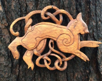 Celtic cat plaque