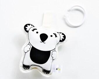 Organic Koala Bear Rattle Toy Hand Printed Organic - Black and White