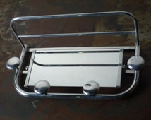 Large Mid Century French Coat Hook Hat Rack with Parcel Shelf with Mirror / Aluminium 1950 1960 wall coat hook