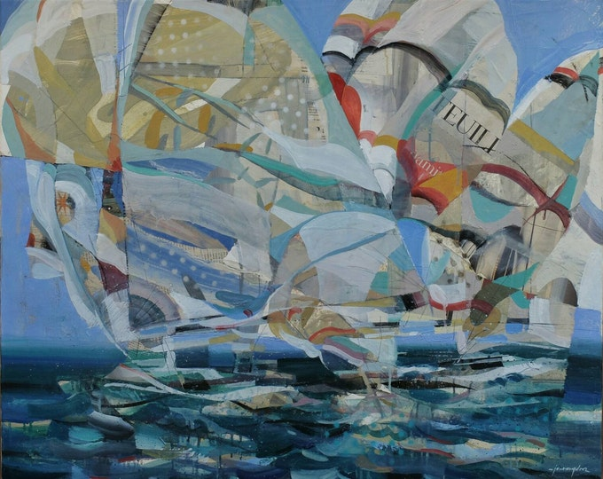 Featured listing image: AMERICA'S CUP. Free shipping Oil on canvas original by Juanma Pérez. 28,7 x 36,2 in.