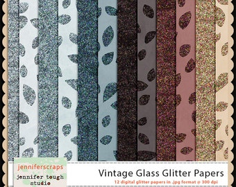 Instant Download - Set of 12 digital papers - Vintage Glass Glitter Papers