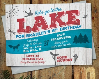 Lake Party Printable Birthday Invitation / Party at the lake Invitation with bird, dragonfly, fox, flip flops, forest
