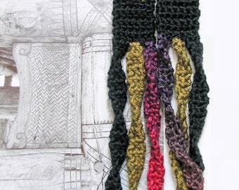 Long tribal necklace, Triple strand boho necklace, Bohemian necklace, Crochet necklace, Statement crochet accessory, Mothers necklace