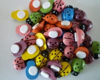 150 Mixed assorted colour 9 x 13mm self adhesive wooden ladybird ladybug embellishment