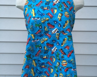 Kids Apron, Cars and Trucks Apron, Children Apron, Kitchen Apron, Kids Bib