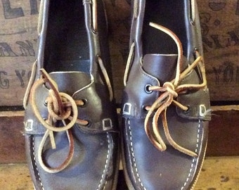 Vintage Dark Brown Leather Boat Shoes Size 7.5 1980's