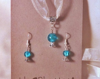 Crystal Ball Earring and Necklace set