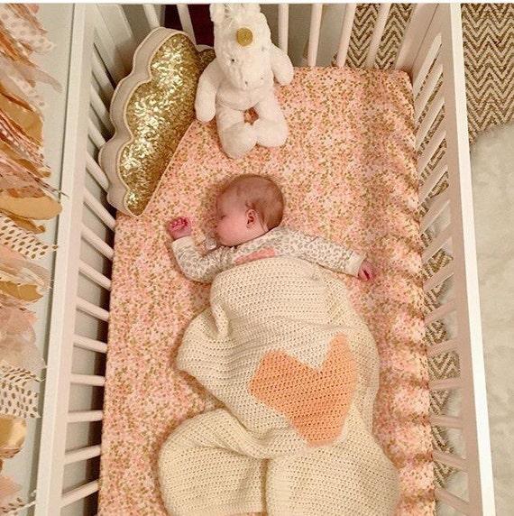 Crib Sheet Shimmer Reflection in Peach Metallic Gold