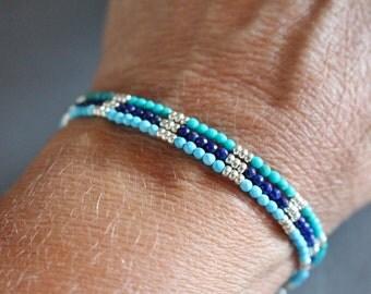 Turquoise bracelet, lapis bracelet, skinny gemstone bracelet, boho chic beaded bracelet, gemstone stacking bracelet, womens bracelet