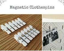 White Magnetic Clothespins / Fridge Magnets / Shabby Chic Mini White Clothespins