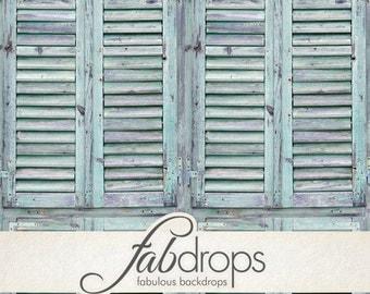 3x3 Sea Green Shutters Vintage Photography Backdrop - Fab Vinyl 3x3 ft (FV6705)
