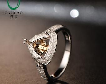 14K Multi-Tone Gold Diamond Semi Mount Engagement Wedding Ring Setting 7.5mm Trillion Cut