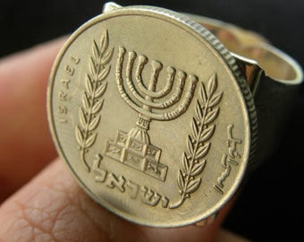 Authentic handmade  Vintage 1/2 Agorot lira  Israel coin Jewish ring  Menorah  handmade  6 to 11 size adjustable Men s ring silver plated