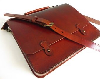 Mens Leather Breifcase/ Mens Leather Satchel/ Leather Messenger Bag/ Full Grain Leather