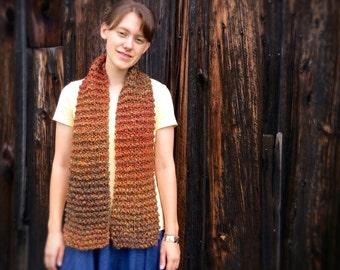 Autumn colors scarf, chunky knit scarf, boho autumn scarf, womens gift, modern knit scarf, fall knit autumn scarf, chunky winter scarf