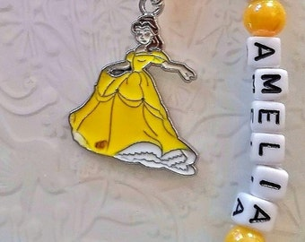 Princess themed personalised back to school kids keyrings~snow white~Belle~Ariel