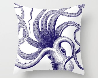 Octopus Pillow Cover - Octopus Throw Pillow Cover - Nautical Pillow Cover - Nautical Decor - Summer Decor - By Aldari Home