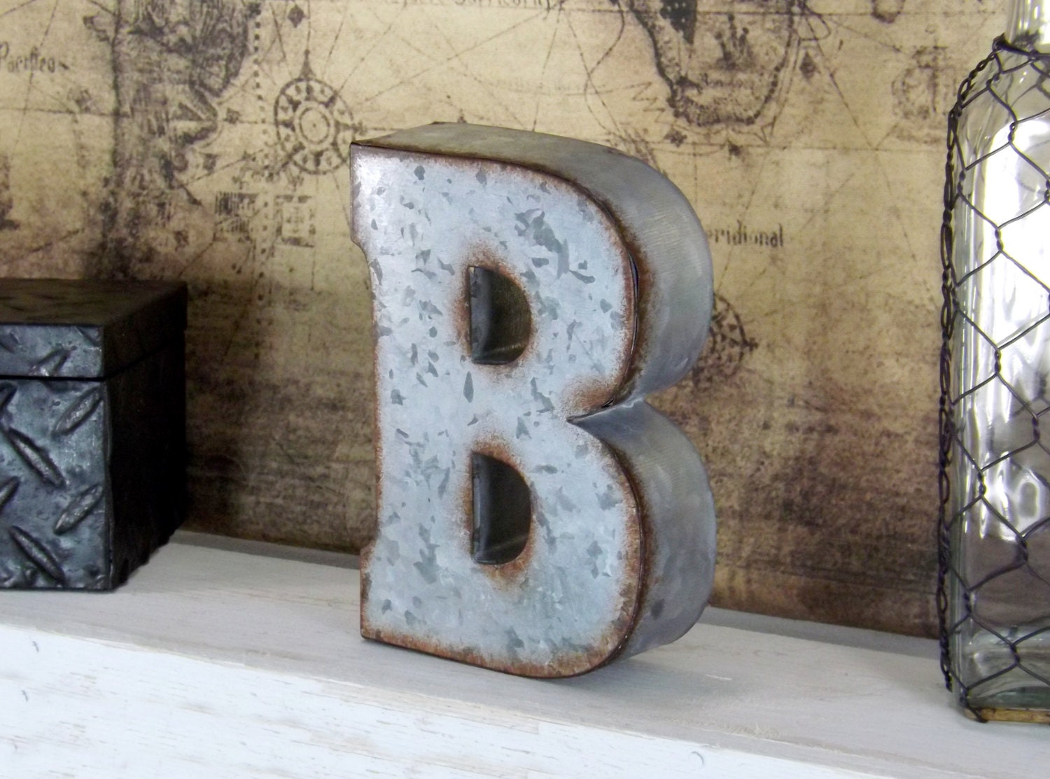 12 Inch Galvanized Letters Metal B Galvanized Letter 7 Inch Letter Shelf Letter Free