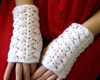 White Crochet Fingerless Gloves