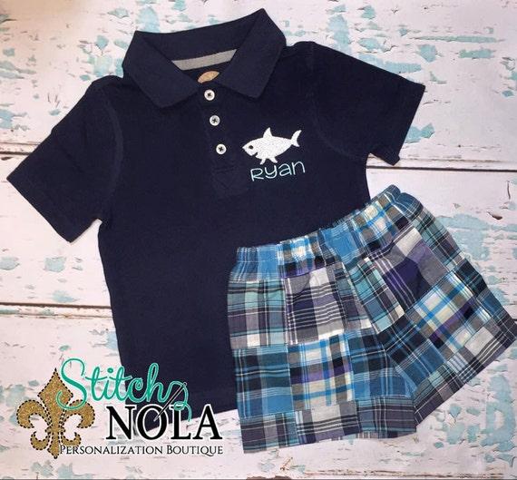 Shark Collarded Shirt & Blue Plaid Shorts Set