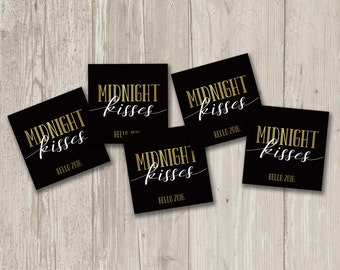 Midnight Kisses favor tag, New Year's Party Favor | Printable