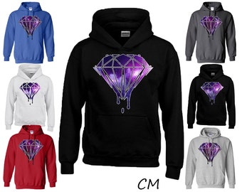 Diamond Bleeding Melting Dripping Galaxy Diamond Hoodie Fashion Sweatshirts Diamond Sweatshirt Sweater Hoodie Best Gift All Colors