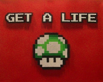 Mario Motivational Poster - GET A LIFE (Pixel Bead Art)