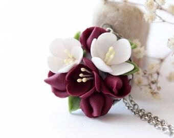 Cherry blossom necklace, Marsala, dark red rose necklace, burgundy flower, romantic necklace, gift for her, sakura, burgundy wedding