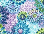 Amanda Floral Tribeca By Timeless Treasures Large Floral Print in Turquoise Blue Green Purple Lavender Green