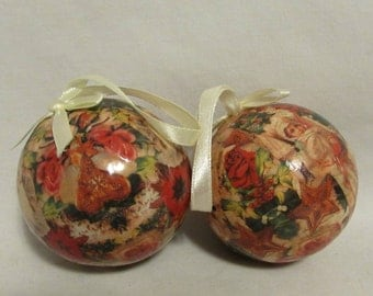 Christmas Tree Ornaments, Decoupage, Set of Two, 1970's