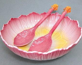 Royal Winton 3 Piece Salad Bowl Serving Set c1940's Pink Buttercup Sunflower