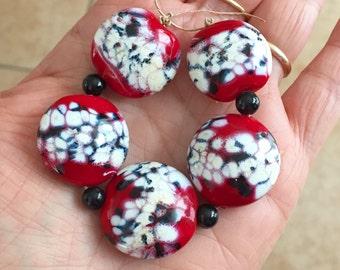 Red ivory black  round beads  Handmade lampwork  glass lentil bead