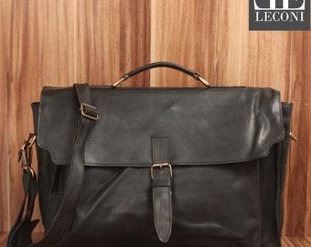 LECONI Briefcase business bag Messenger bag Messenger bag vintage leather black LE3008-wax