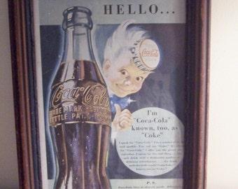 Vintage Coca Cola Wall Hanging, Hello Coca Cola Boy, Coca Cola, Antique Frame, Coke Collector Picture