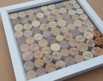 "Wedding Anniversary Wine Cork box display made from vintage Corks of a specific year - size 9 1/2""x9 1/2"" (24 cm Sq) various years possible."