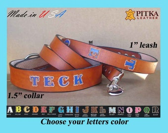 Personalized Dog Leash Collar Set - XL Leather Dog Collar and Leash - Dog Collars for Big Dogs Custom Made - Tan 1.5 inch  Dog Collars - USA