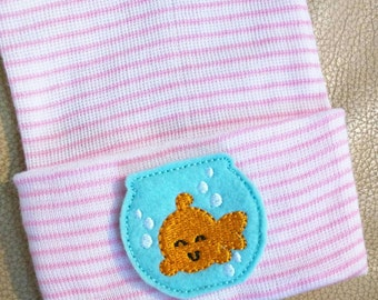 Newborn Hospital Hat Goldfish in Fishbowl. Choice of Hat color. Great Gift. Perfect for Newborn. Baby's 1st Keepsake. Cute!
