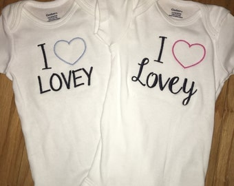 I Heart Lovey onesies for twins