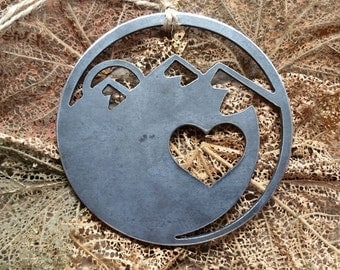 Mountains Are Calling Christmas Ornament Love Mtns Rustic Metal Heart Christmas Tree Ornament Holiday Gift Wedding Favor By BE Creations