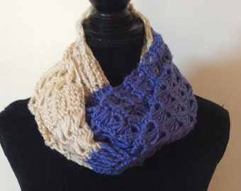 Hand crochet broomstick infinity scarf, ready to ship