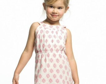 Dress girl, elastic on the chest, pink print