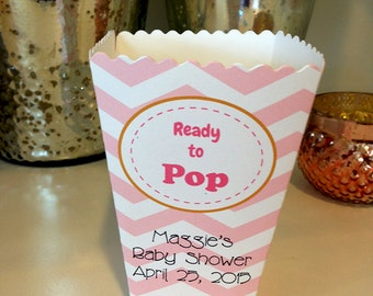 Ready to Pop, Popcorn Box, Shower, Favor, Container, pink, blue, Chevron, Baby Shower favor
